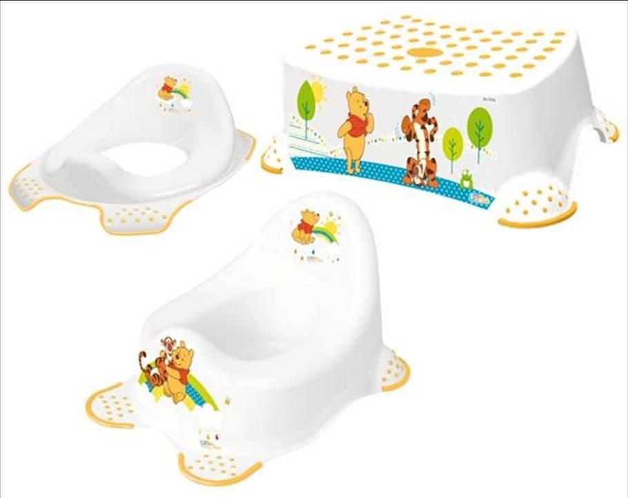 Hygienický set HRACÍ noèník + adaptér na WC + protiskluzová stolièka Medvídek Pú bílý