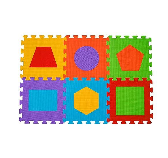 Pìnové puzzle geometrické tvary 6 ks