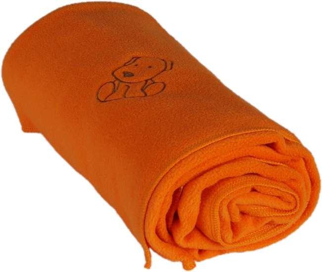 Dìtská flísová deka s pejskem 70x100 cm oranžová