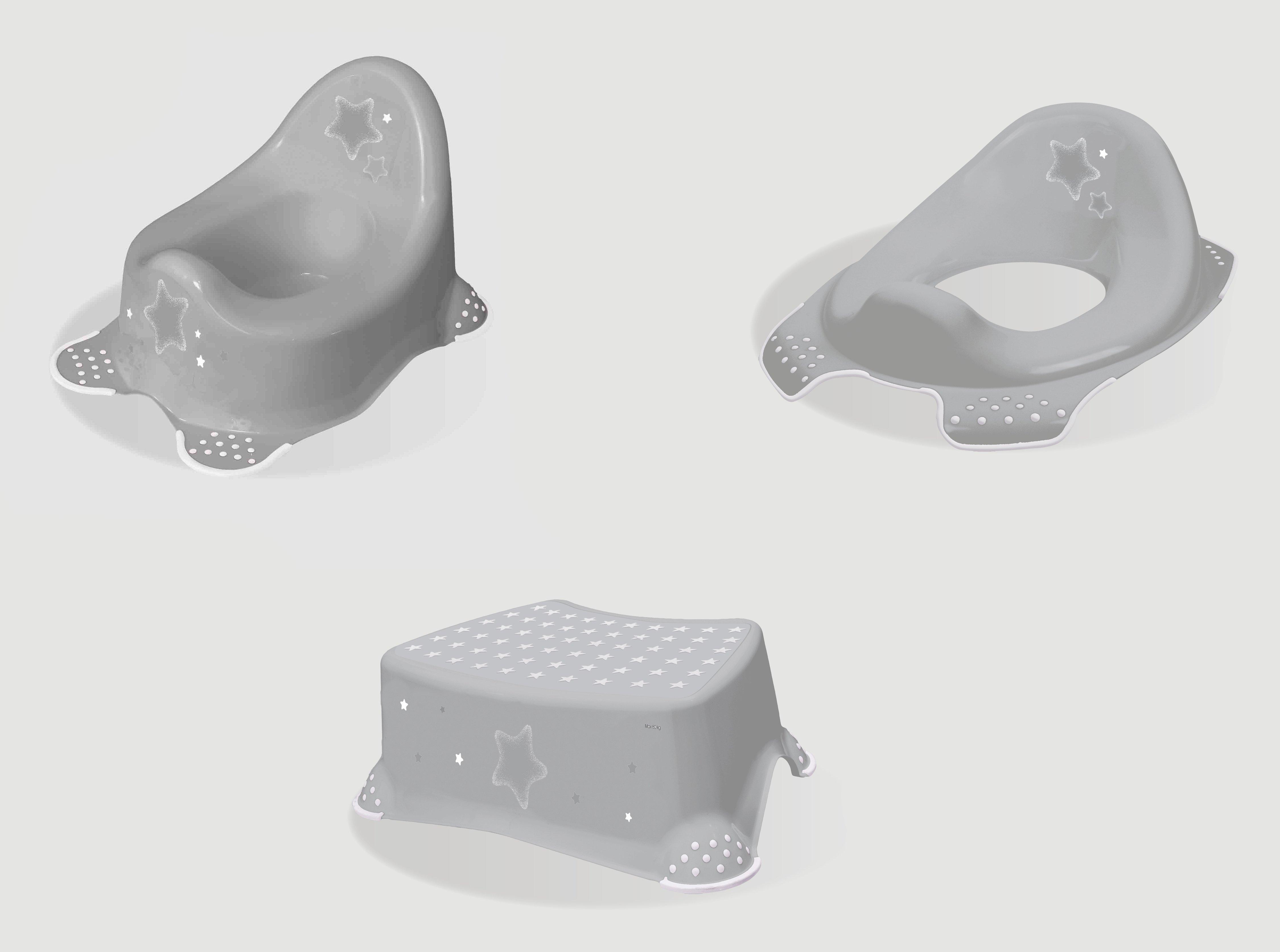 Hygienický set noèník + stolièka + adaptér na WC Stars šedá