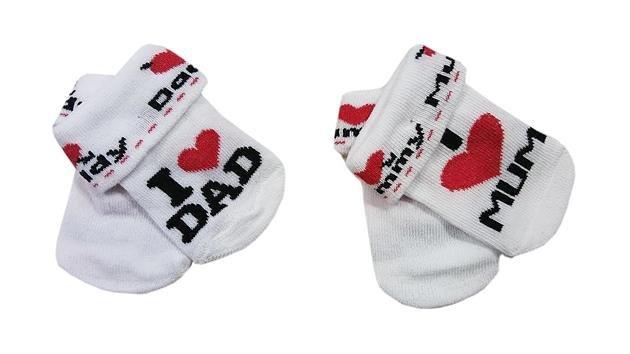 Kojenecké ponožky I love mum/dad 56-62
