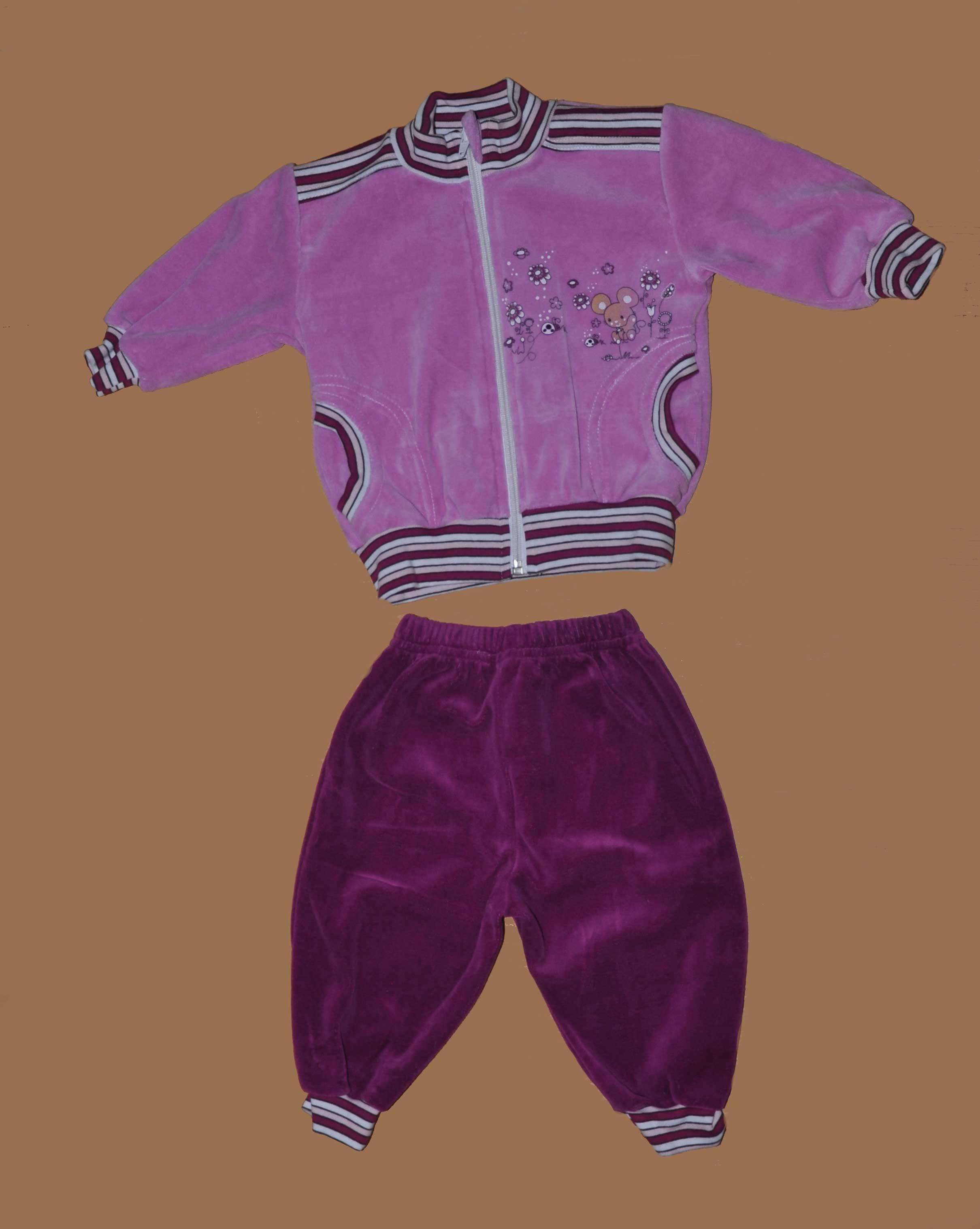 Souprava sametová mikina + kalhoty vel. 68 rùžová