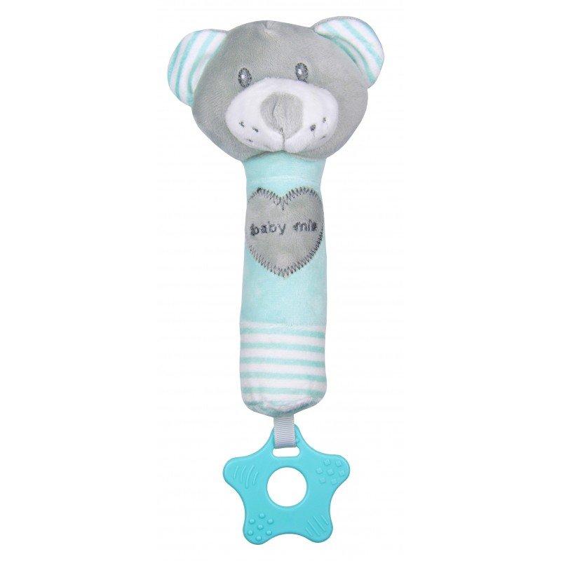 Plyšové chrastítko do ruky s pískátkem a kousátkem medvídek