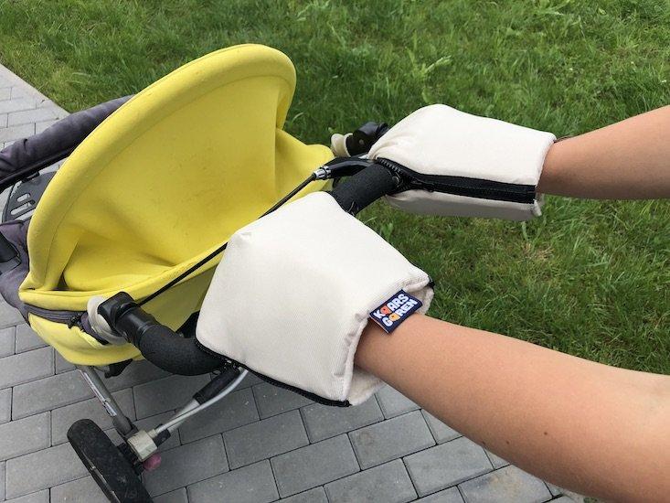 Béžové rukavice na koèárek biobavlna