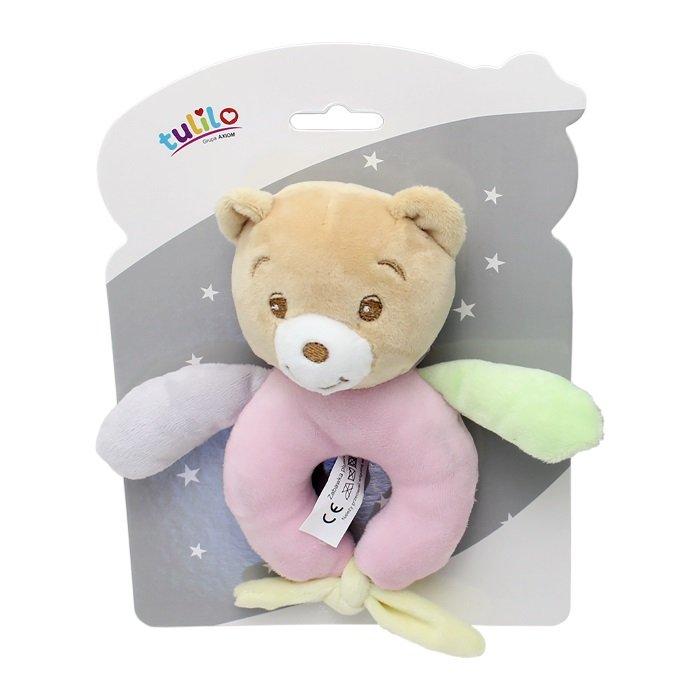 Plyšové chrastítko medvídek 15 cm rùžová