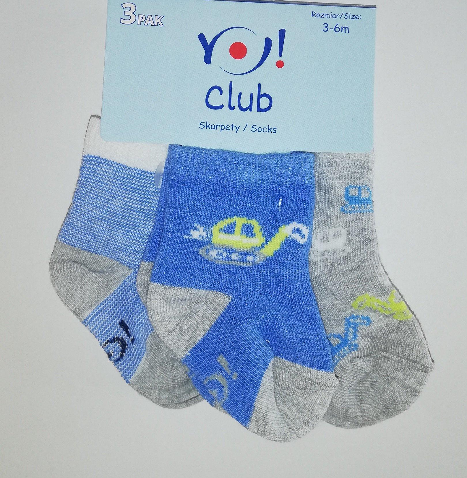 Ponožky kojenecké 3 páry v balení 3-6m barevné kluk