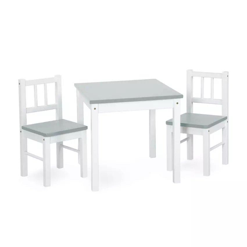 Døevìný dìtský stoleèek a dvì židlièky JOY bílo-šedá