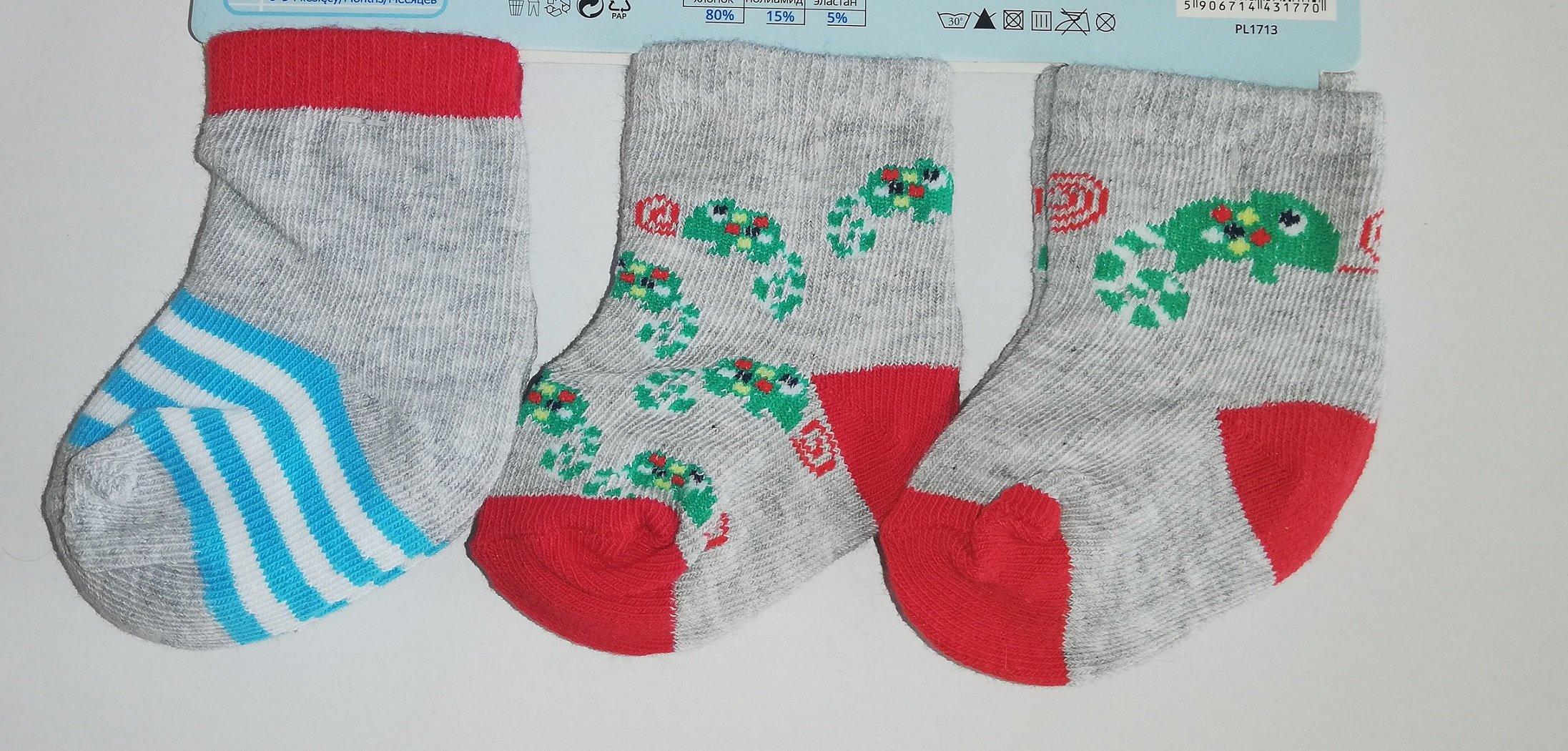 Ponožky kojenecké 3 páry v balení 0-3m barevné kluk