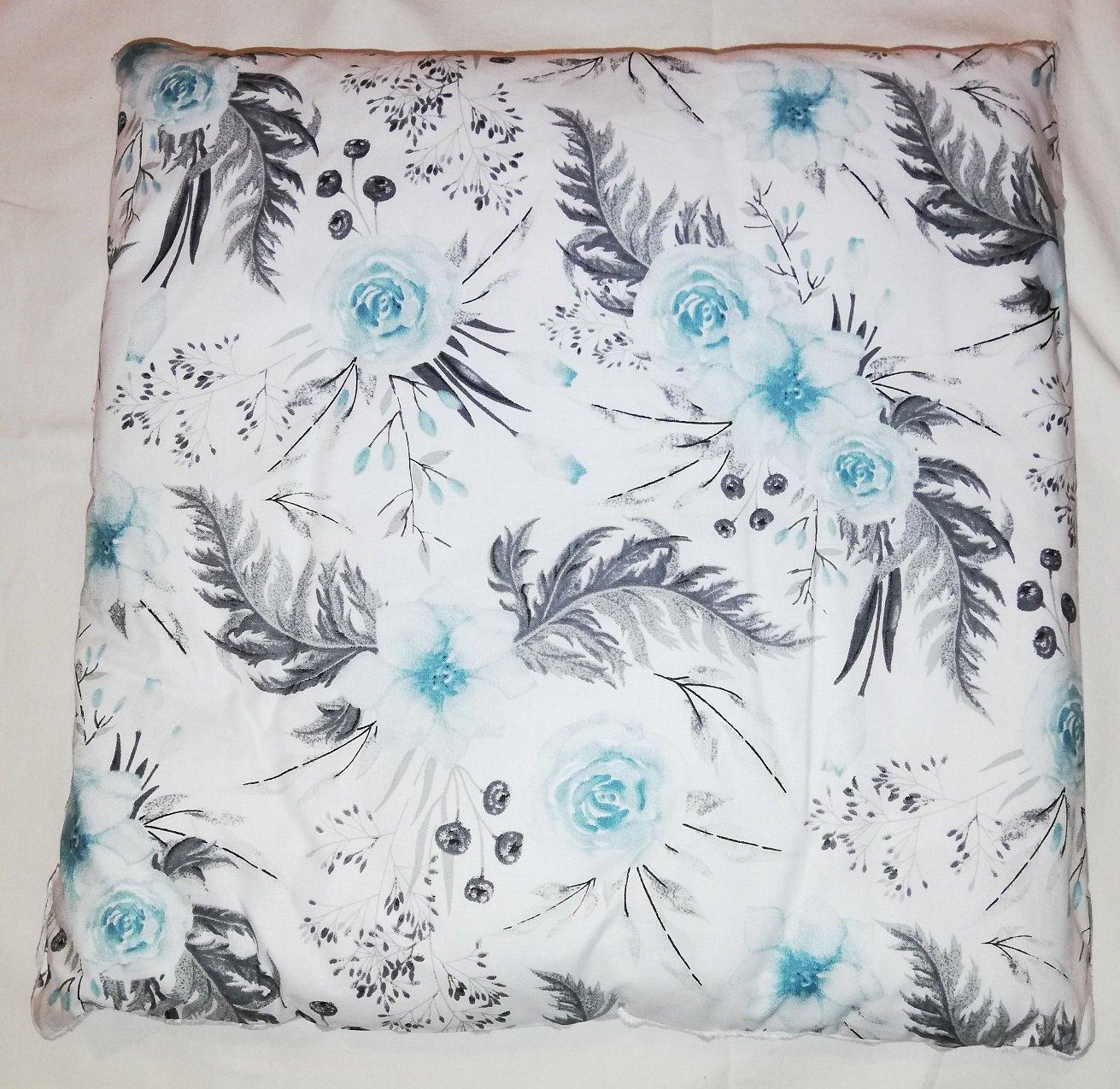 Dìtský polštáø bavlna + minky 40x40 cm kvìty zelená