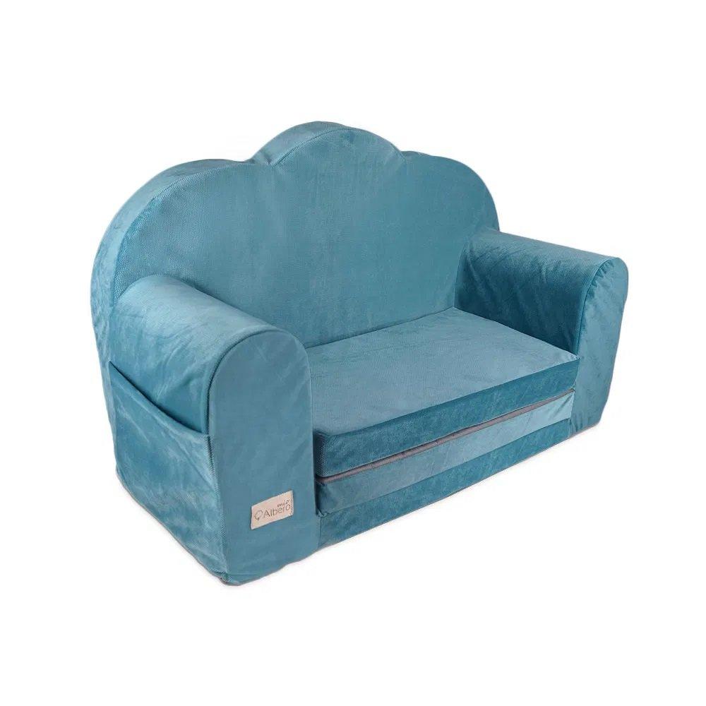 Dìtská rozkládací pohovka Velvet obláèek modrá