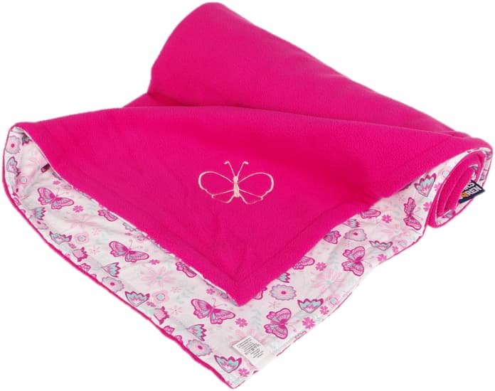 Dìtská deka rùžová motýl fleece bavlna