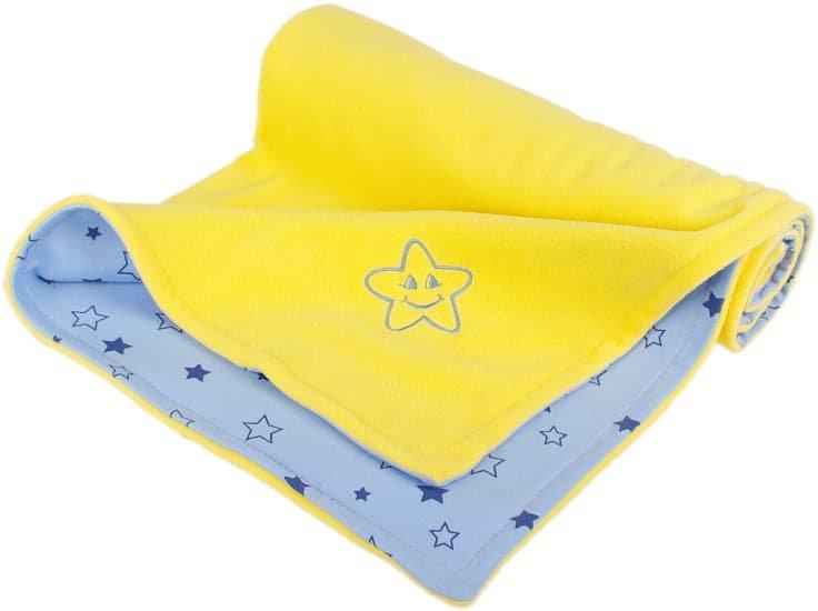 Dìtská deka žlutá hvìzdièka fleece bavlna