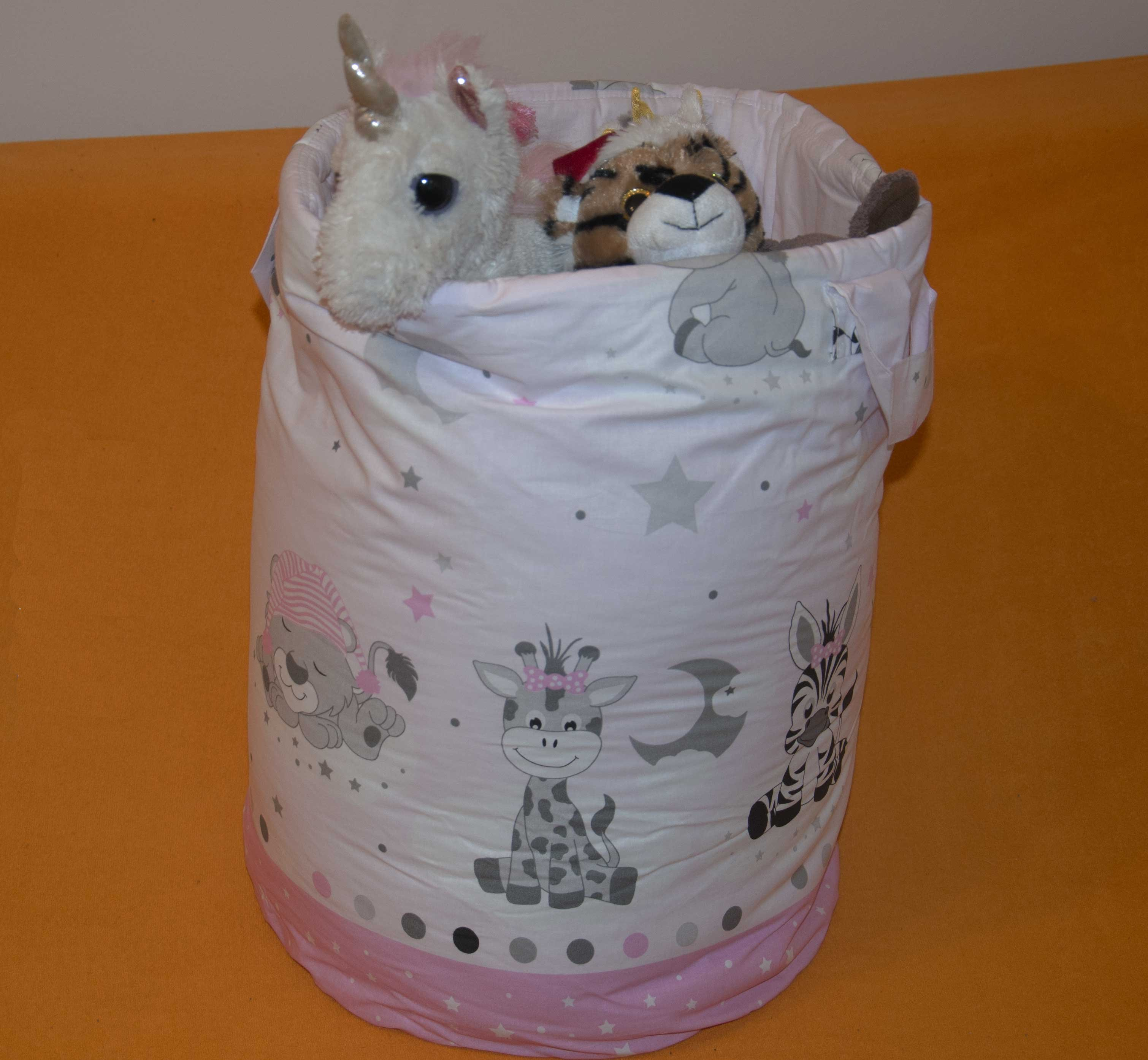 Bavlnìný koš - taška - na hraèky Zvíøátka rùžová