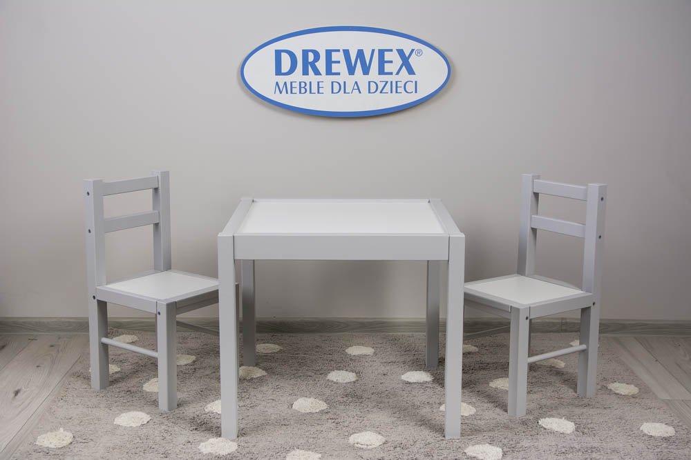Døevìný dìtský stùl a dvì židlièky bílá/šedá