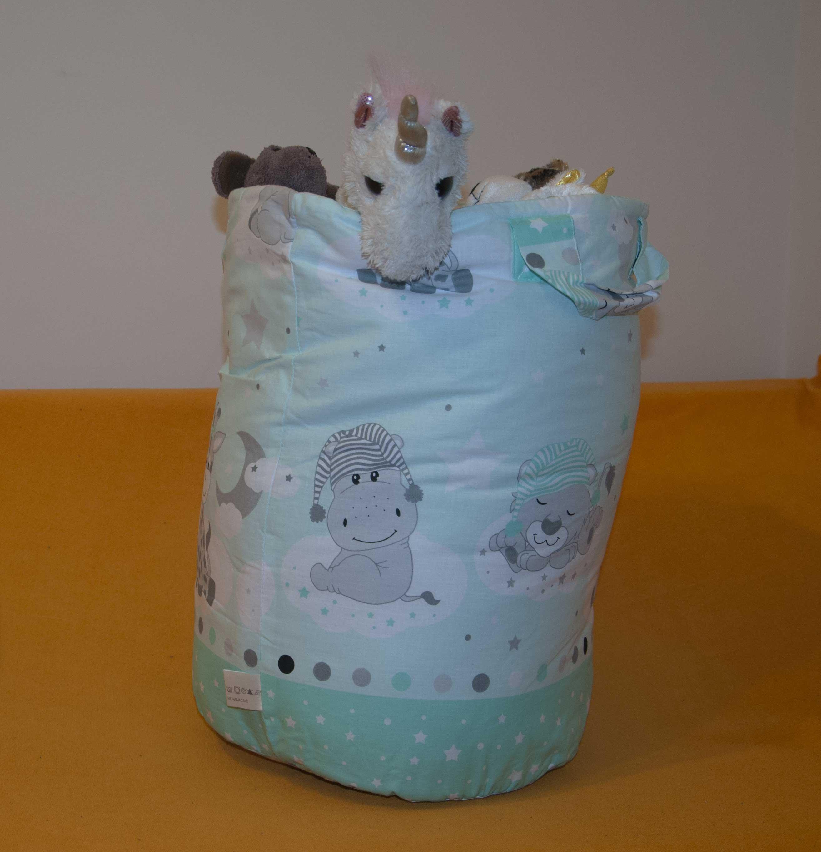Bavlnìný koš - taška - na hraèky Zvíøátka zelená