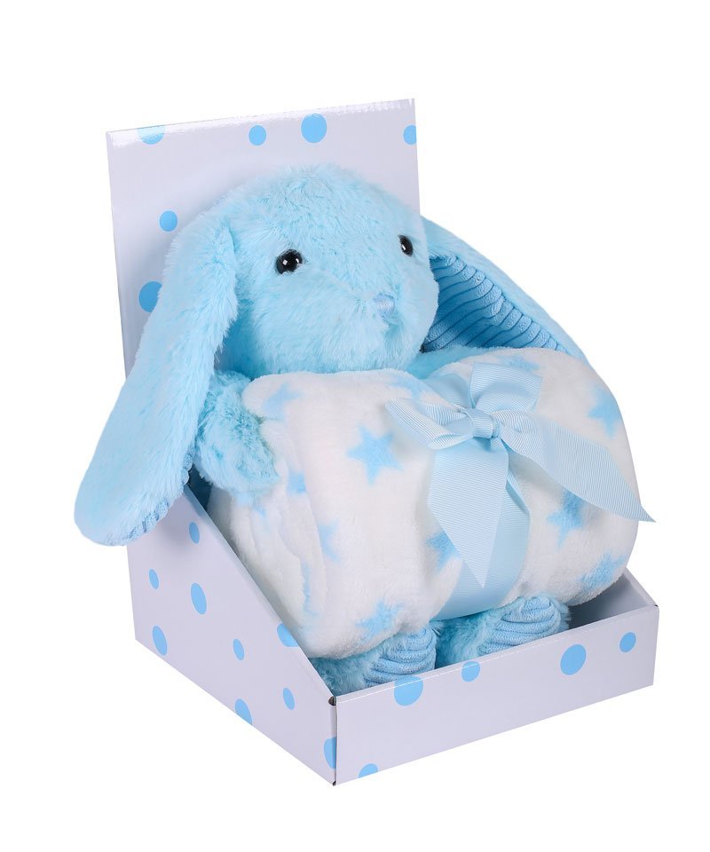 Velurová deka Beránek modrá 75x90 cm