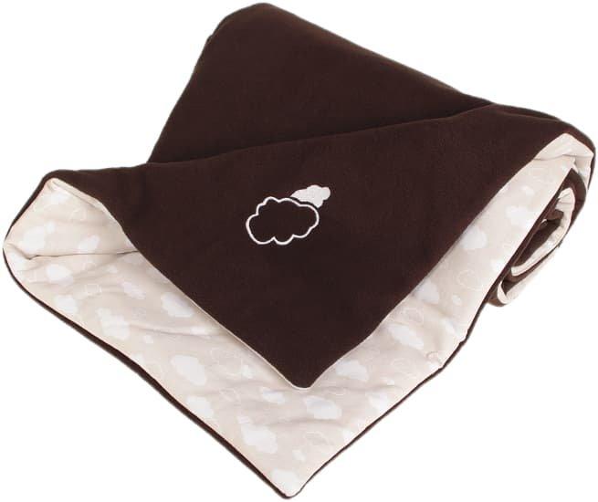 Zateplená dìtská deka 70x100 cm obláèky hnìdá