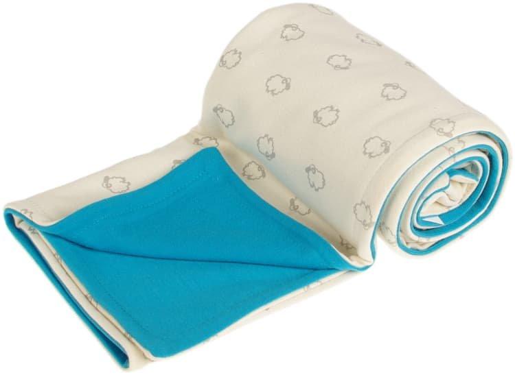 Dìtská deka bio beránci 70x100 cm merino aqua