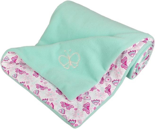 Zateplená dìtská deka motýlci 70x100 cm mentolová