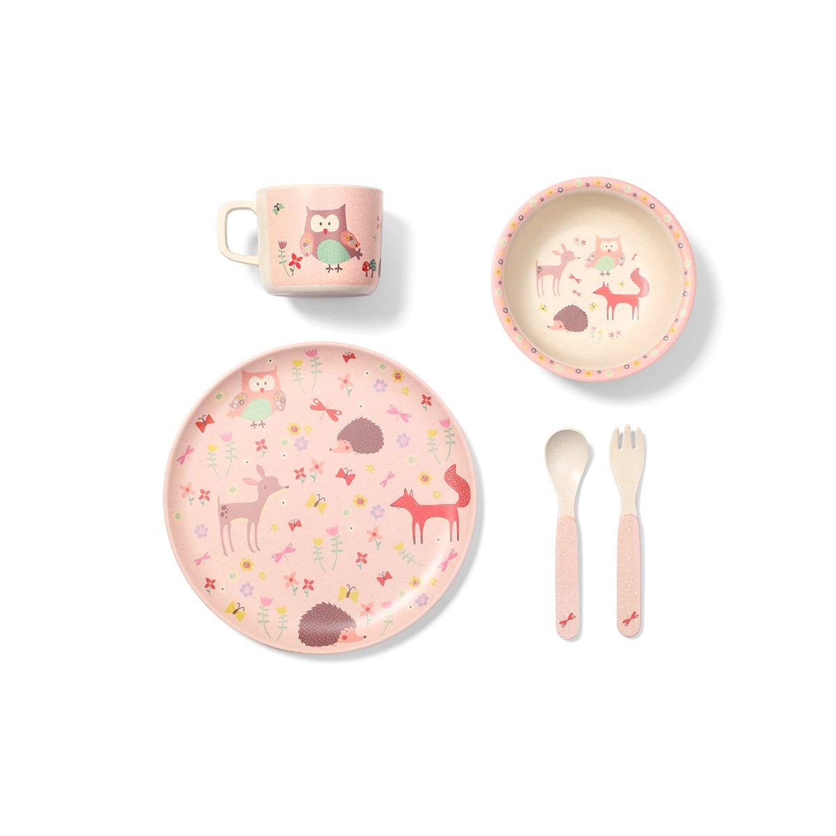 Dìtská jídelní sada z bambusu forest pink