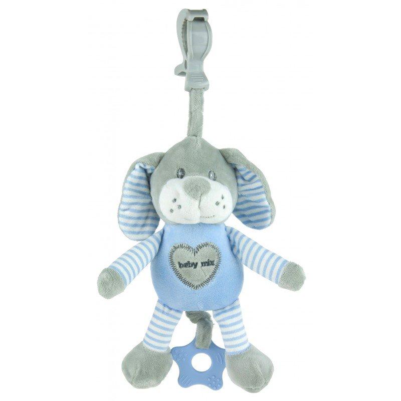 Plyšová hraèka s klipem a vibrací pejsek modrá