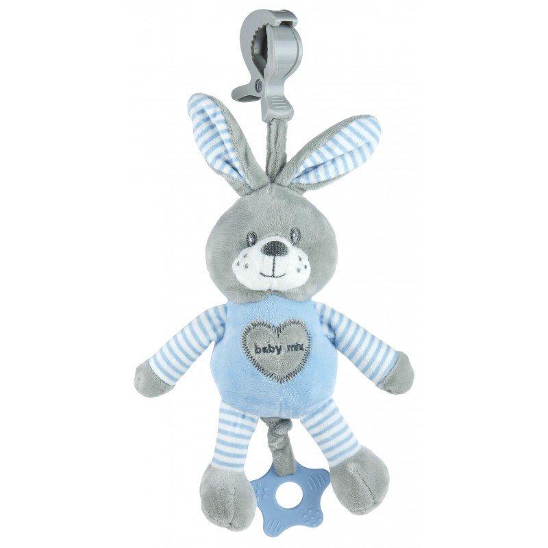 Plyšová hraèka s klipem a vibrací králík modrá