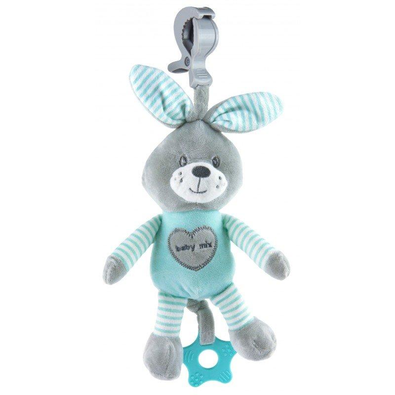 Plyšová hraèka s klipem a vibrací 25 cm králík mátová