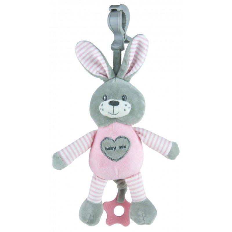 Plyšová hraèka s klipem a vibrací 25 cm králík rùžová
