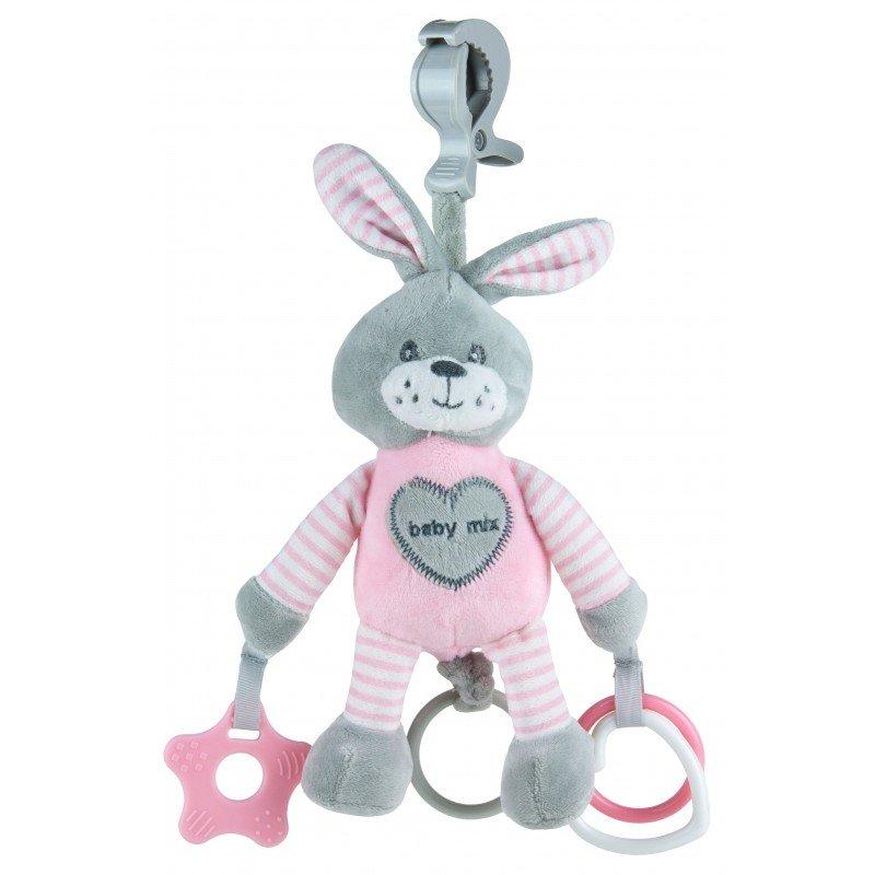 Plyšová hraèka s klipem a vibrací králík rùžová