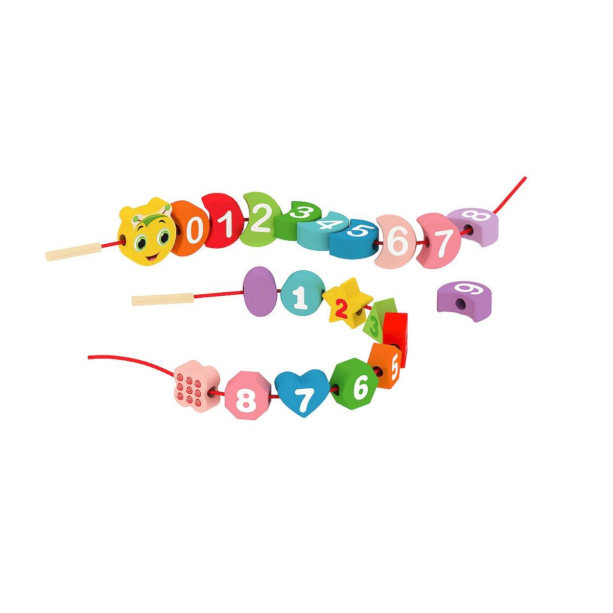Edukaèní hraèka døevìná housenka kostky na niti 21 ks 80 cm