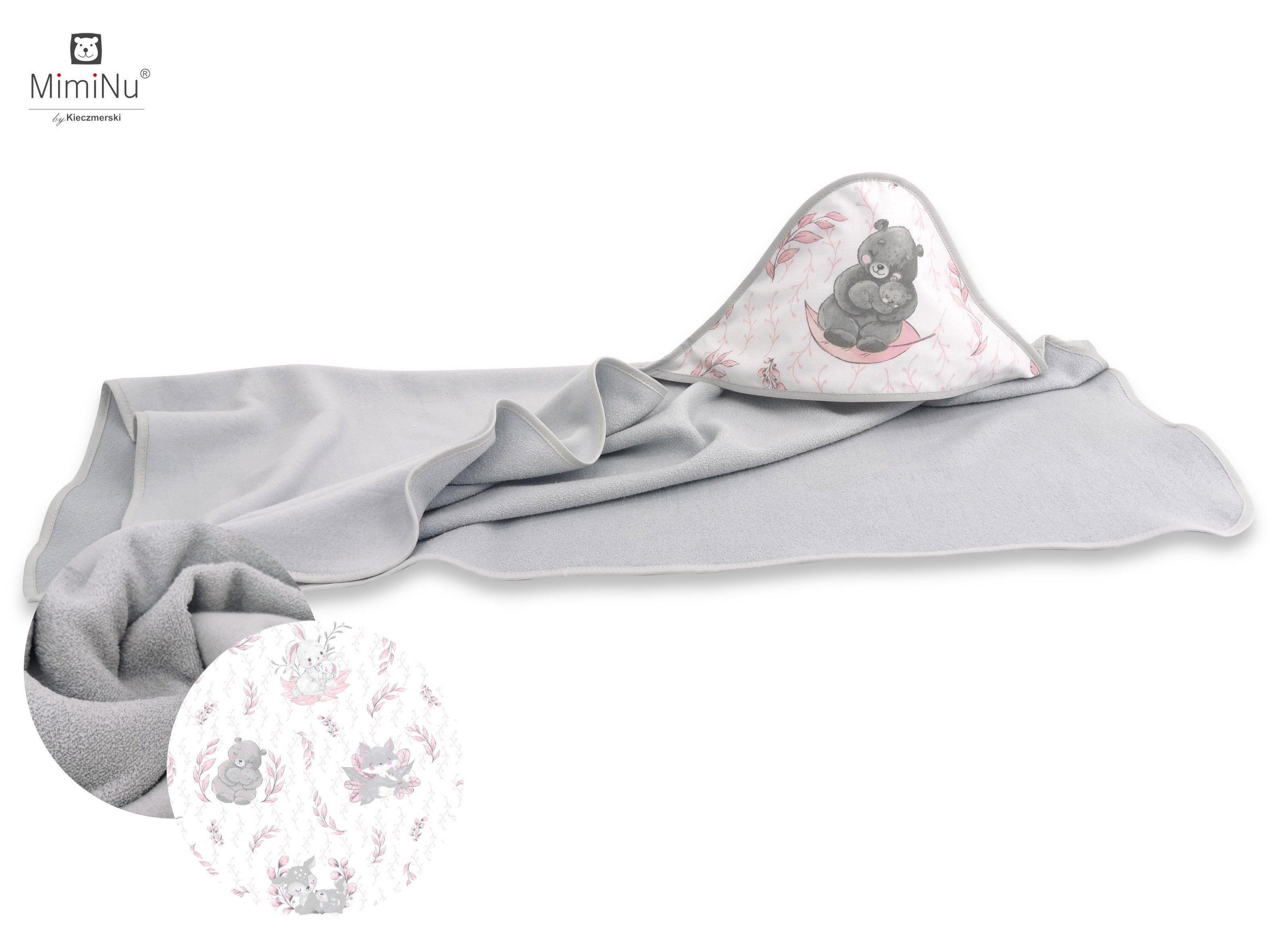 Froté osuška s kapucí 100x100 cm Lulu rùžovo-šedá