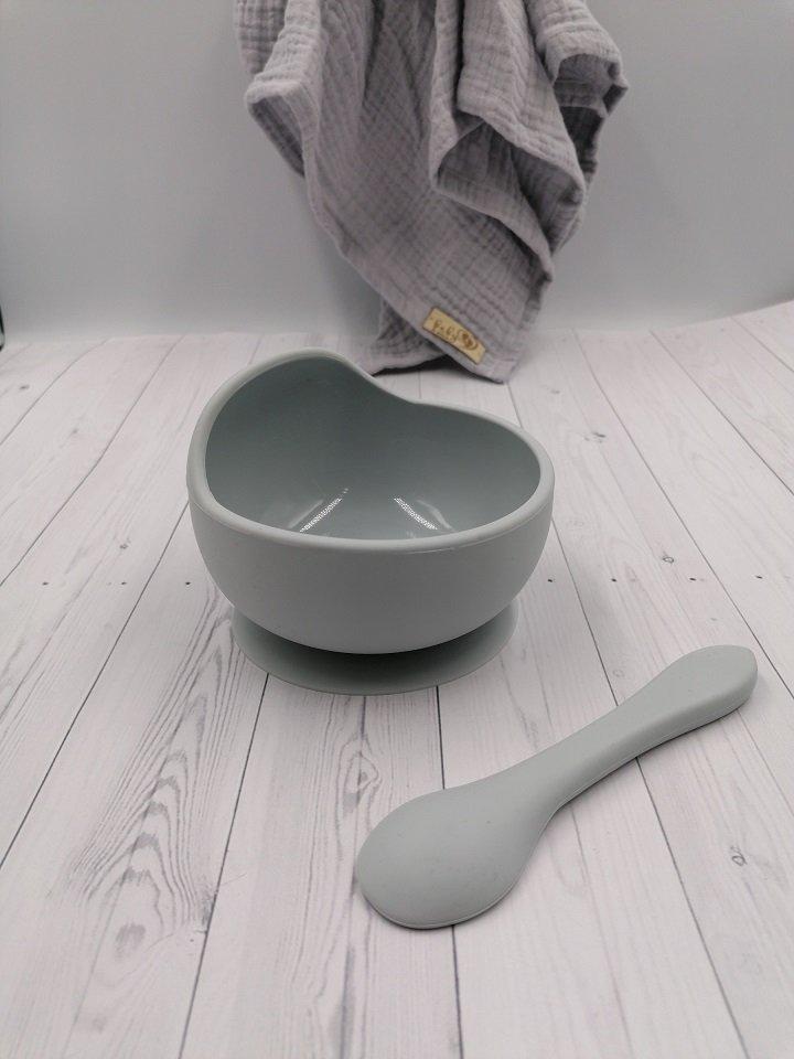 Silikonová miska s pøísavkou a lžièkou šedá