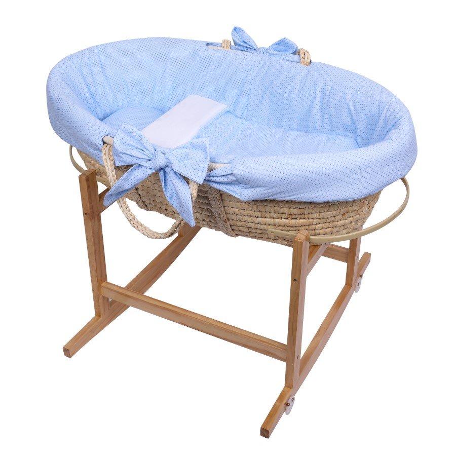 Koš Mojžíšùv pro miminko se stojanem s matrací a povleèením 3 dílným modrá