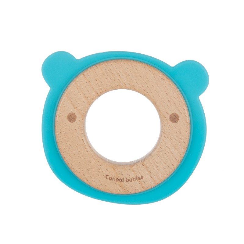Kousátko pro kojence døevo silikon medvídek