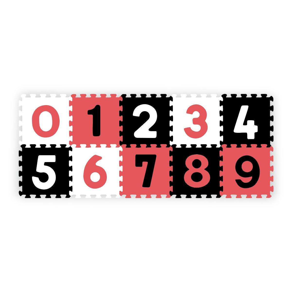 Pìnové puzzle pìnové 30x30 cm 10 ks èísla èerveno èerno bílá