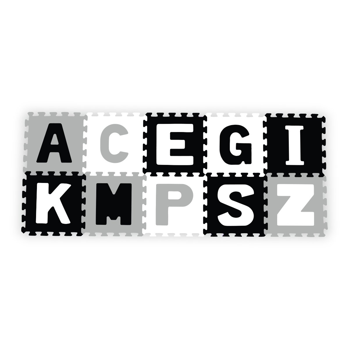 Pìnové puzzle pìnové 30x30 cm 10 ks písmena èerno bílá
