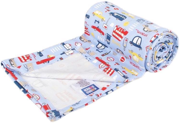 Lehká letní deka 100x150cm modrá autíèk