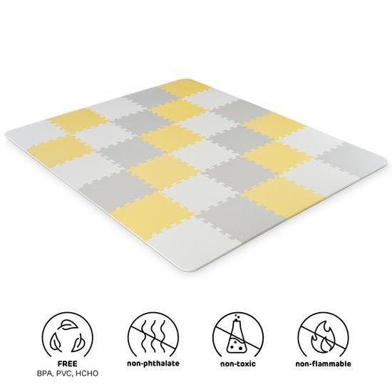 Pìnová podložka puzzle LUNO žlutá-bílá
