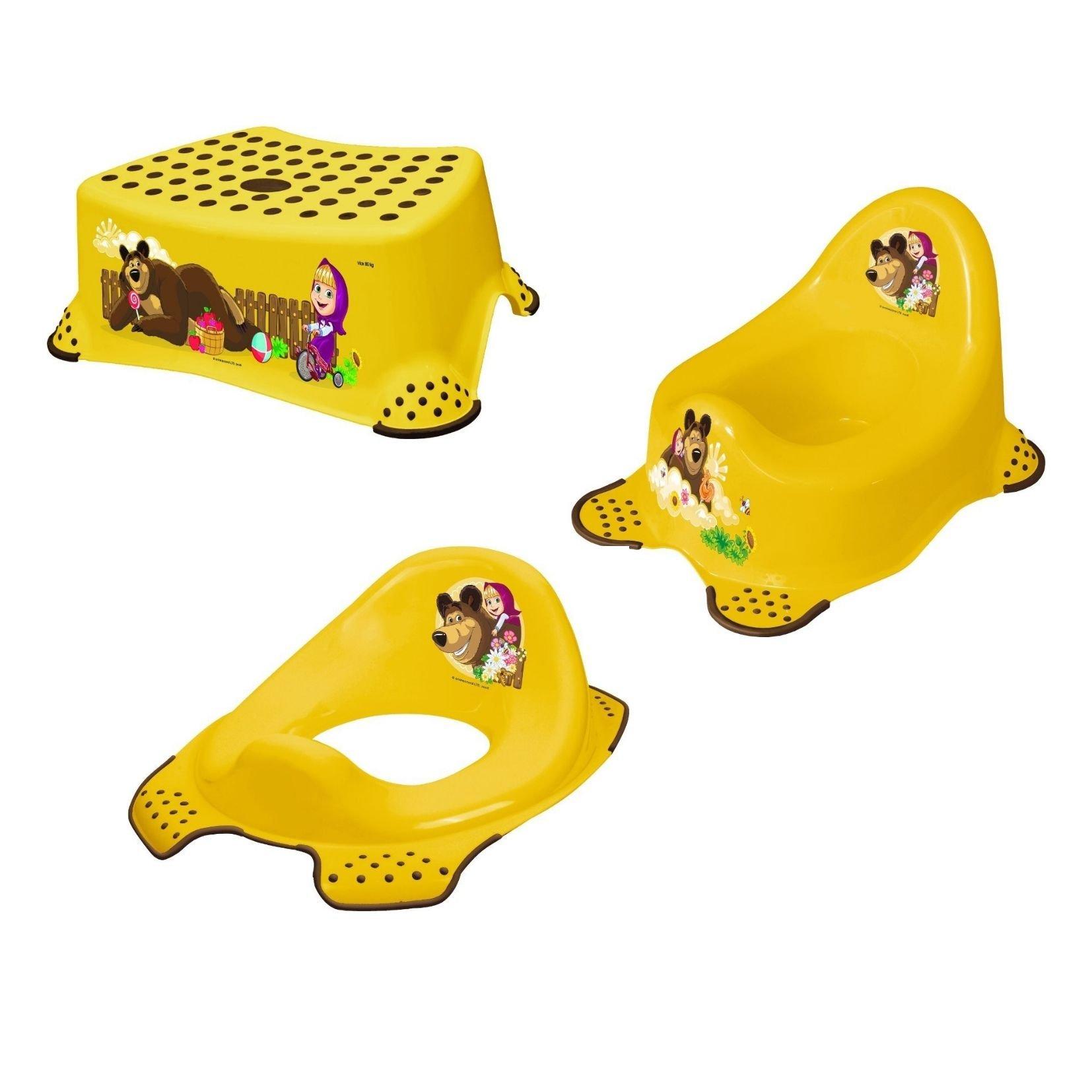 Hygienický set noèník + stolièka + adaptér na WC Máša a medvìd žlutá