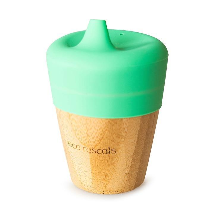 Bambusový kelímek 190 ml se silikonovým pítkem zelená