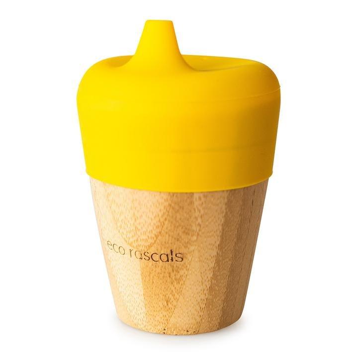 Bambusový kelímek 190 ml se silikonovým pítkem žlutá