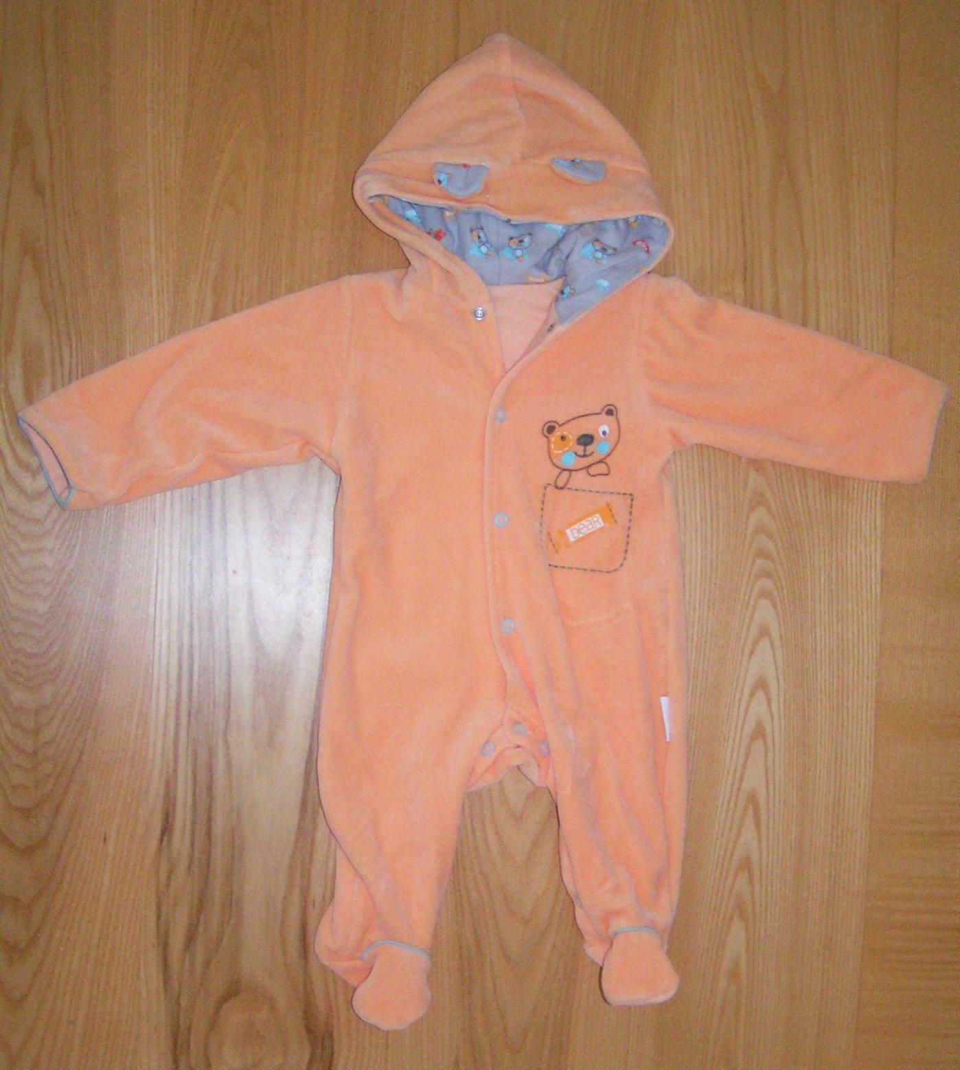 Overal Pastel 68 oranžový s kapucí