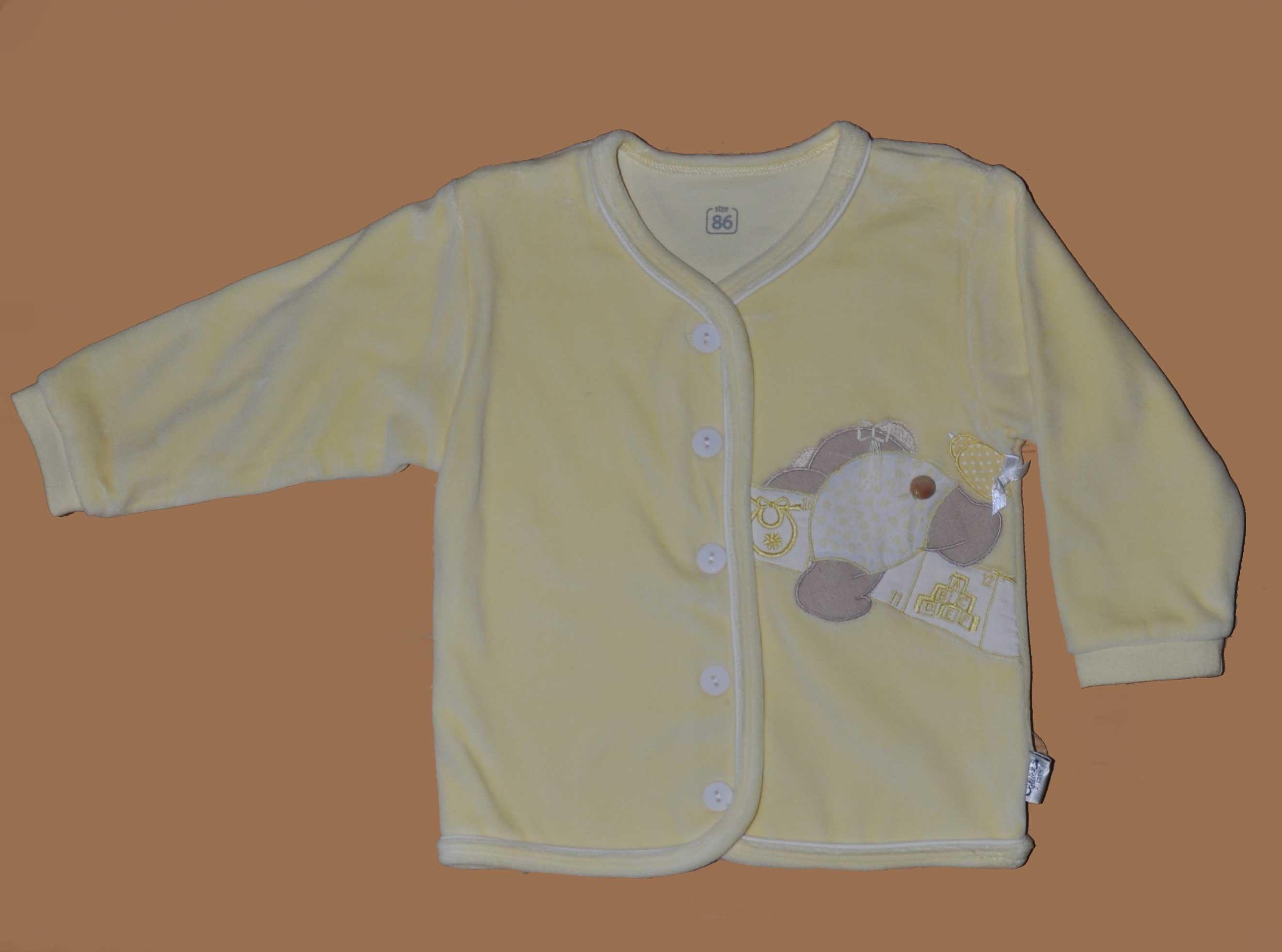 Kojenecký kabátek s výšivkou samet vel. 86 žlutá