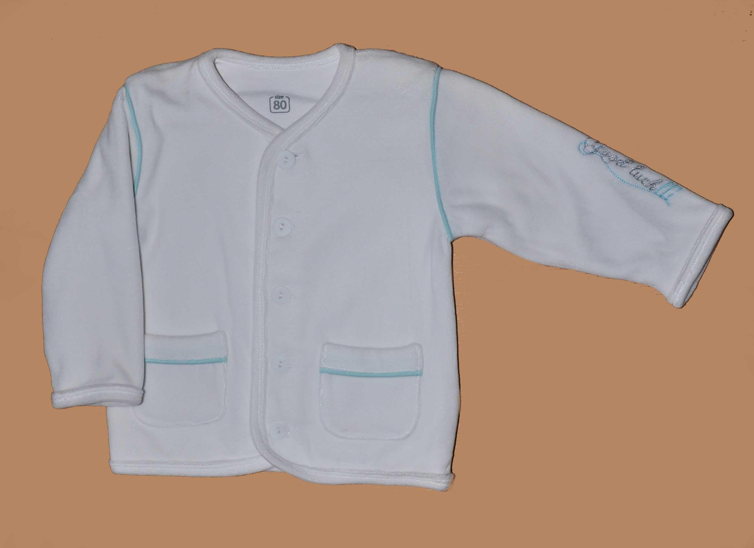 Kojenecký kabátek samet s výšivkou vel. 74 bílá