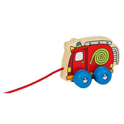 Døevìná tahací hraèka požárnické auto