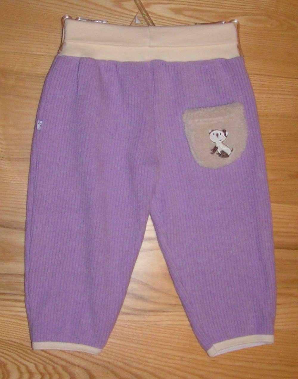 Kalhoty do pasu  �plet fialov� vel. 80