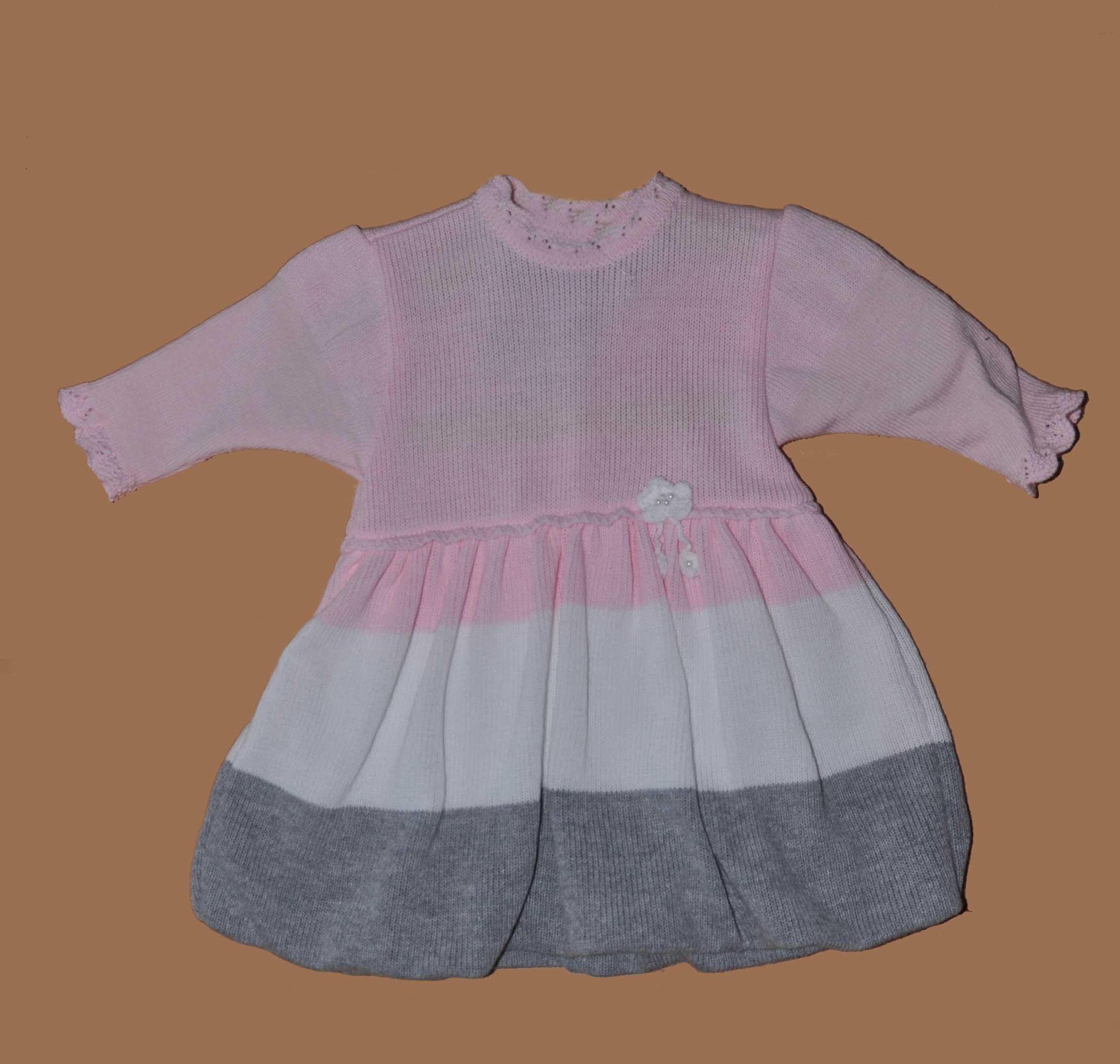 Dívèí pletené šaty NM-394 vel.56 rùžová
