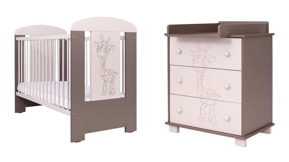 2 dílná sada dìtského nábytku Žirafa cappuccino postýlka a komoda - zvìtšit obrázek