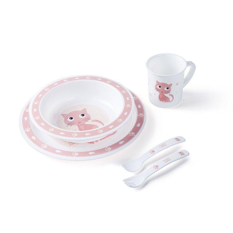 Plastová sada nádobí s pøíborem Koèièka rùžová - zvìtšit obrázek