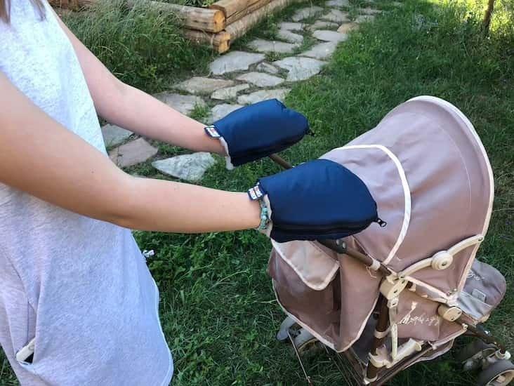 Nepromokavé merino rukavice modré na koèárek - zvìtšit obrázek
